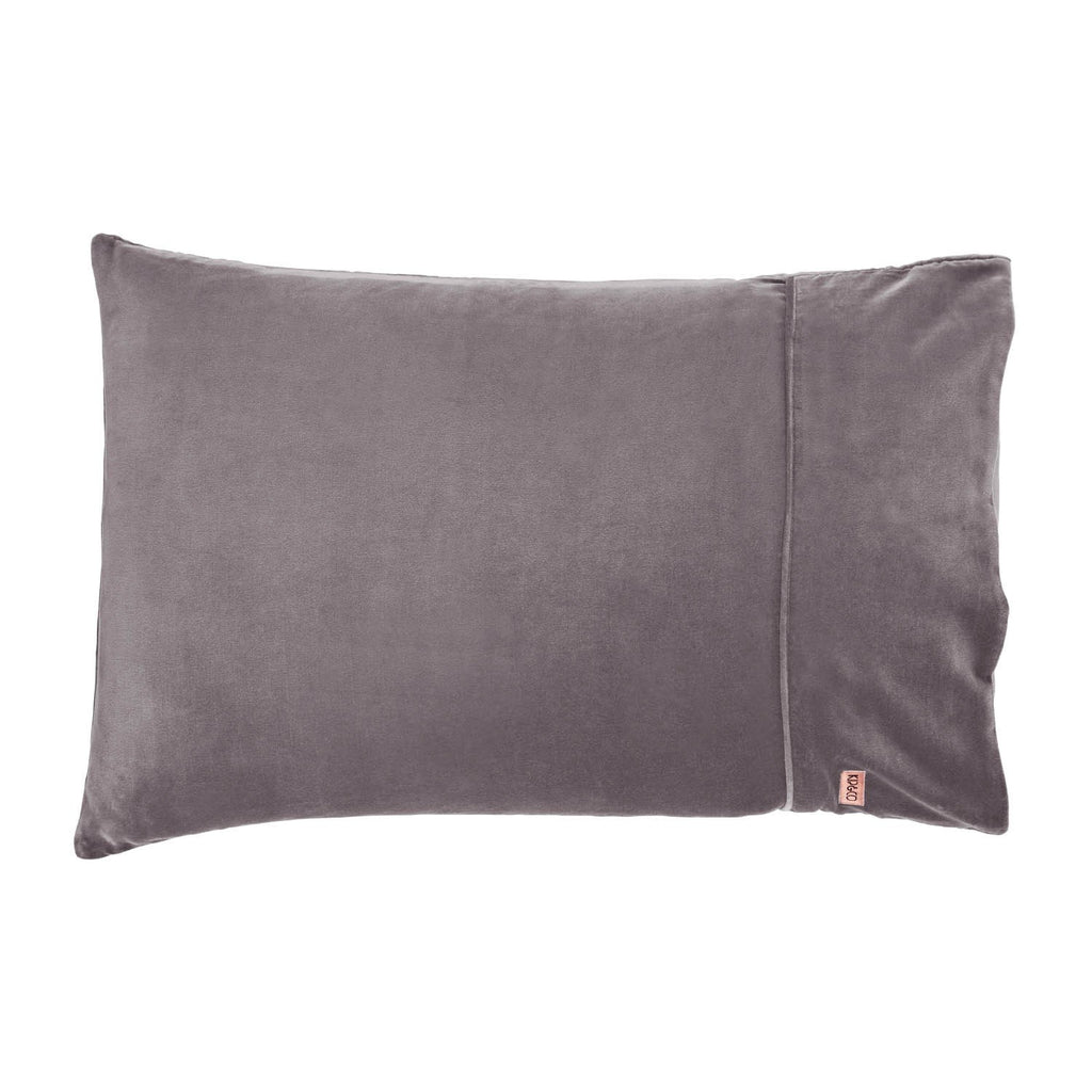 Kip & Co Storm Front Grey Velvet Pillowcase Set- 2P - The Artisan Storeroom
