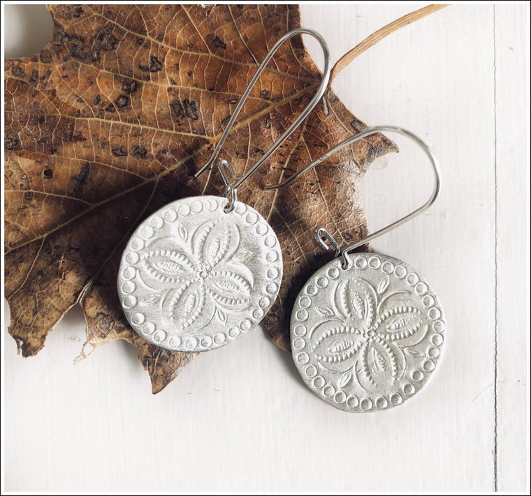 Paird Etched Disc Earrings