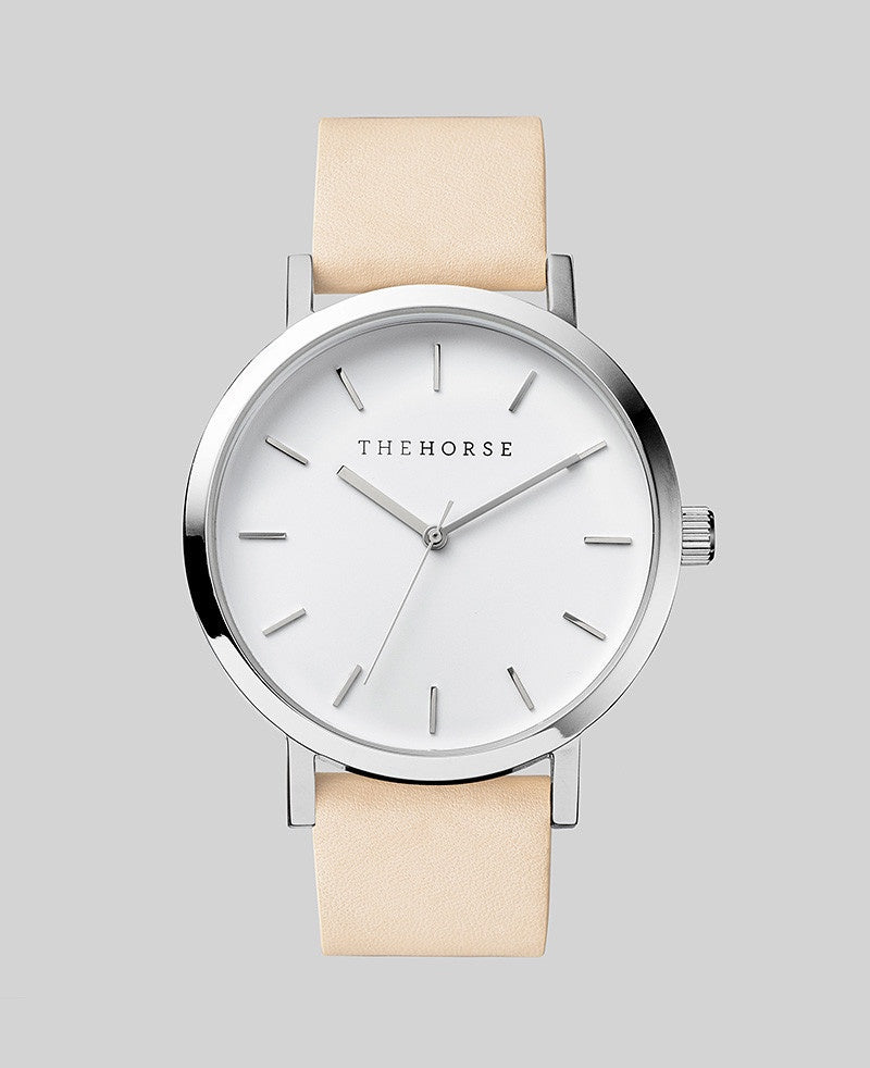 The Horse Original Watch A2- Polished Steel Case / White Face / Veg Tan Band - The Artisan Storeroom