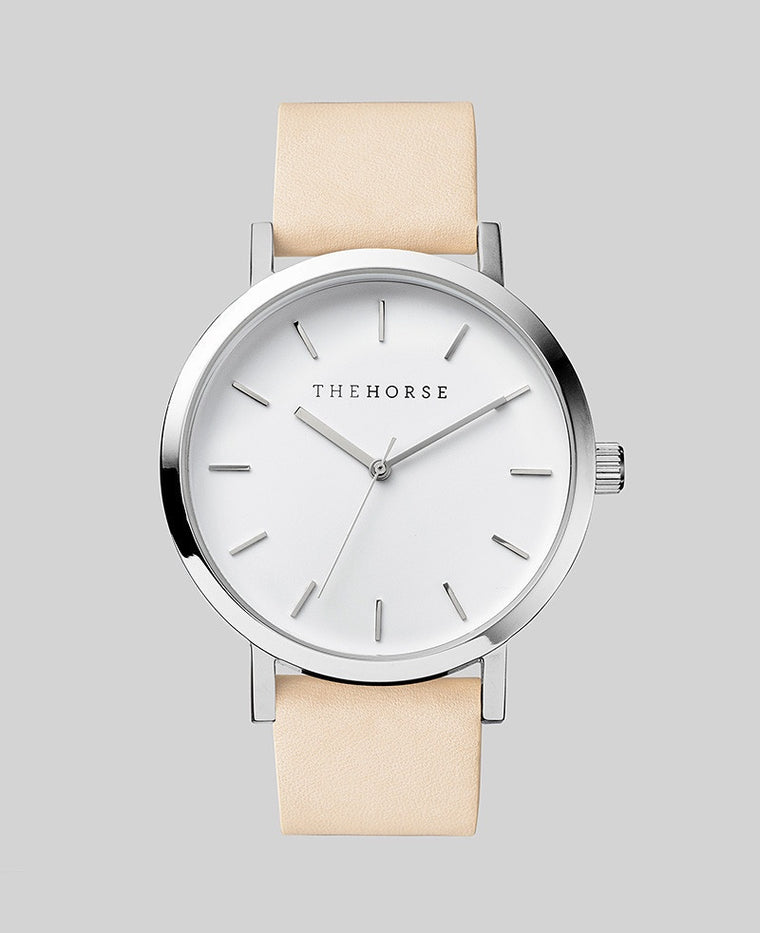 The Horse Original Watch A2- Polished Steel Case / White Face / Veg Tan Band