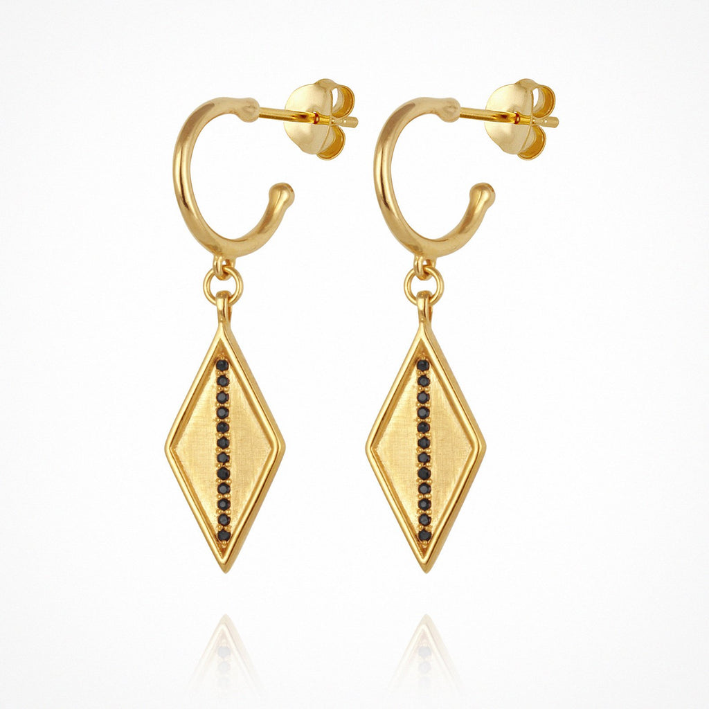 Temple of the Sun Trinity Sapphire Earrings Gold - The Artisan Storeroom