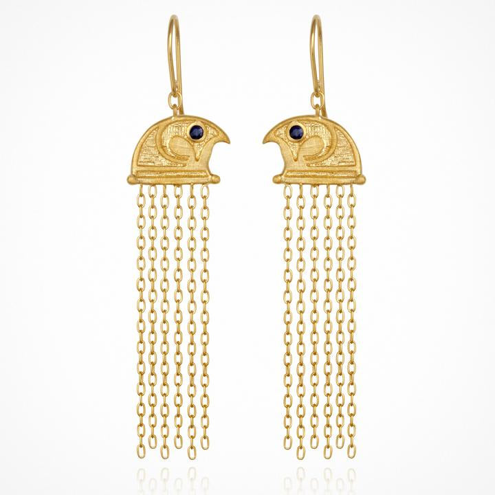 Temple of the Sun Falcon Earrings Gold