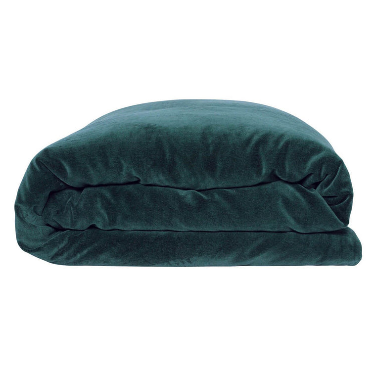 Kip & Co Alpine Green Velvet Quilt Cover- Queen