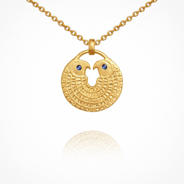 Temple of the Sun Falcon Necklace Gold