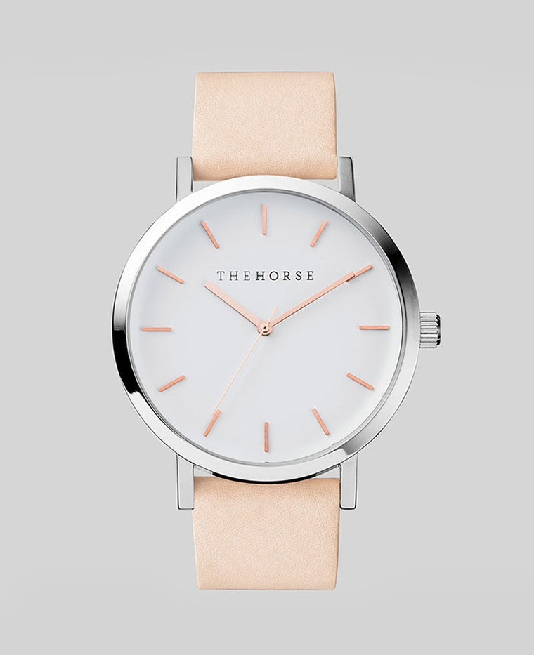 The Horse Original Watch A8- Polished Steel Case / Rose Gold Indexing / White Dial / Vegetable Tan Band