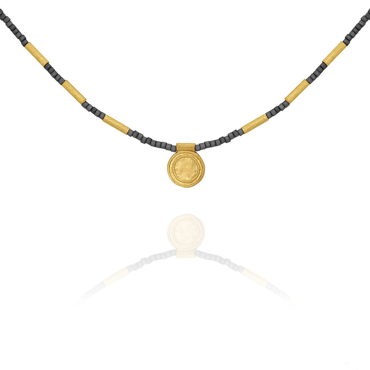 Temple of the Sun Petra Seedbead Necklace Gold