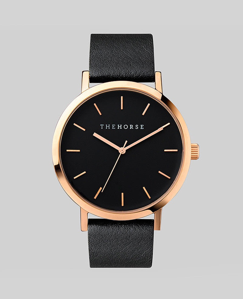The Horse Original Watch A11- Polished Rose Gold Case / Black Face / Black Band - The Artisan Storeroom