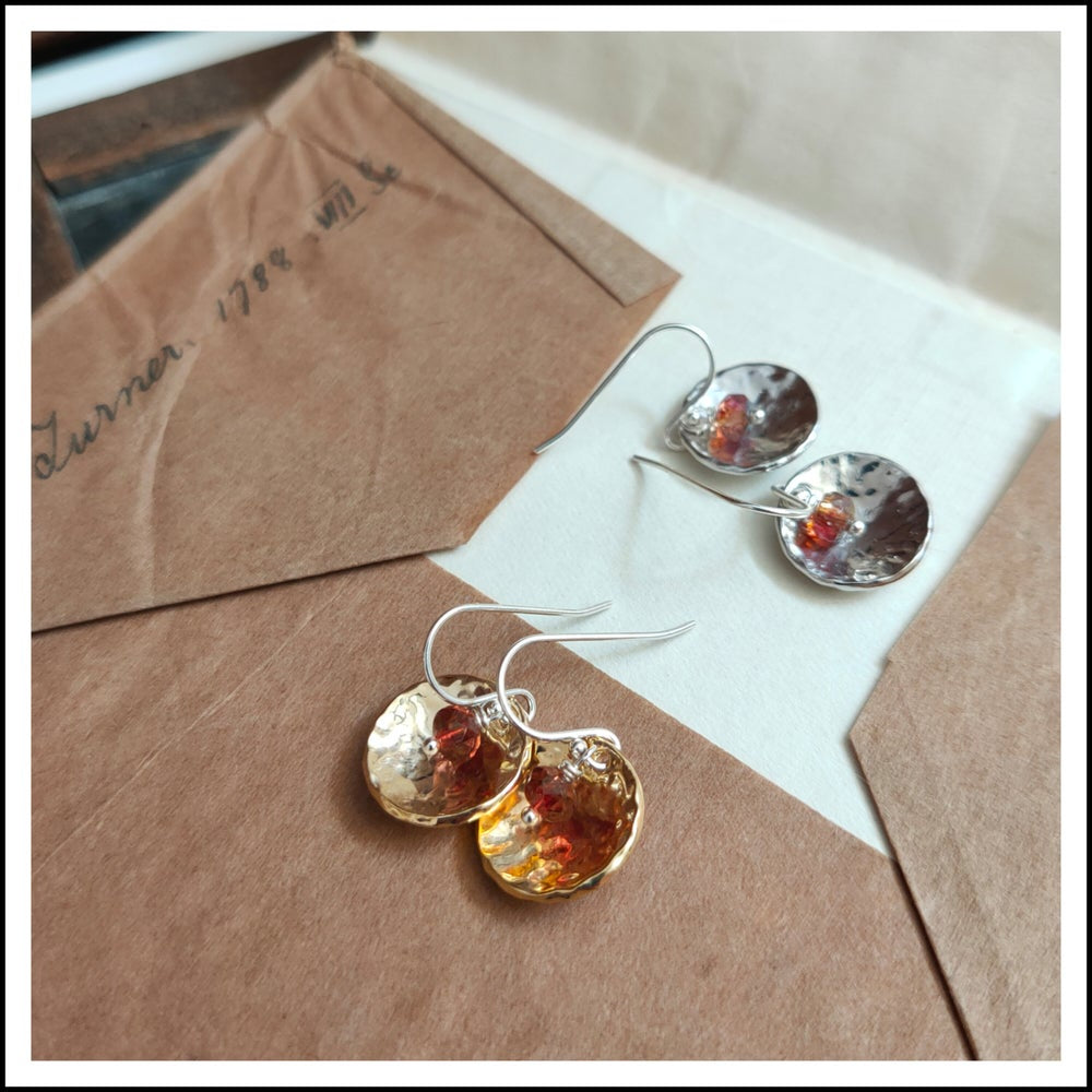 Paird Dome and Precious Stone Earrings