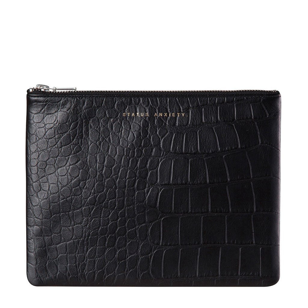 Status Anxiety Anti-Heroine Clutch- Black Croc Emboss