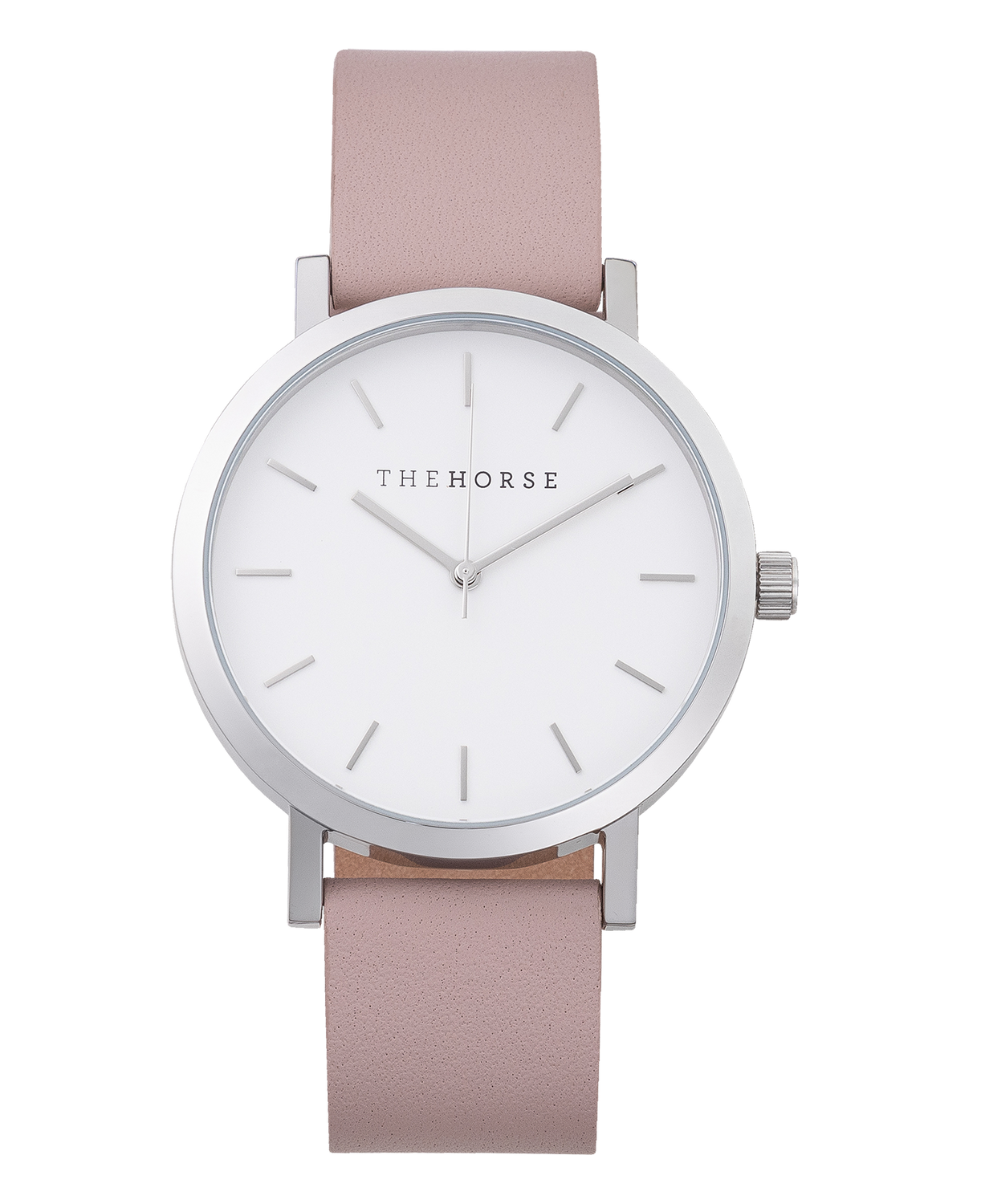 The Horse Original Watch A30- Polished Silver / White Dial / Blush Leather - The Artisan Storeroom