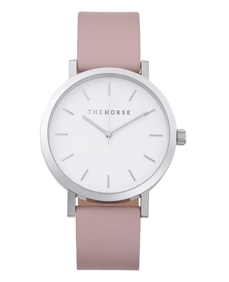 Original Watch A30- Polished Silver / White Dial / Blush Leather