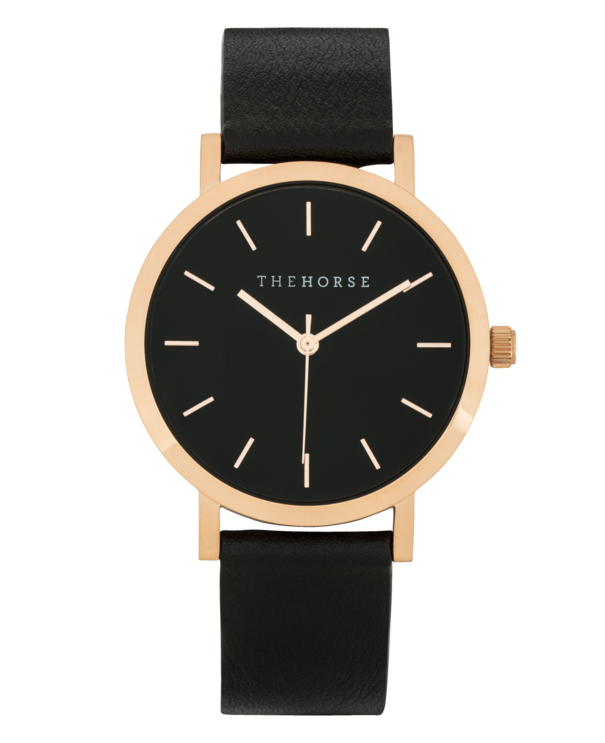 The Horse Mini Original MA11- Rose Gold Case / Black Leather