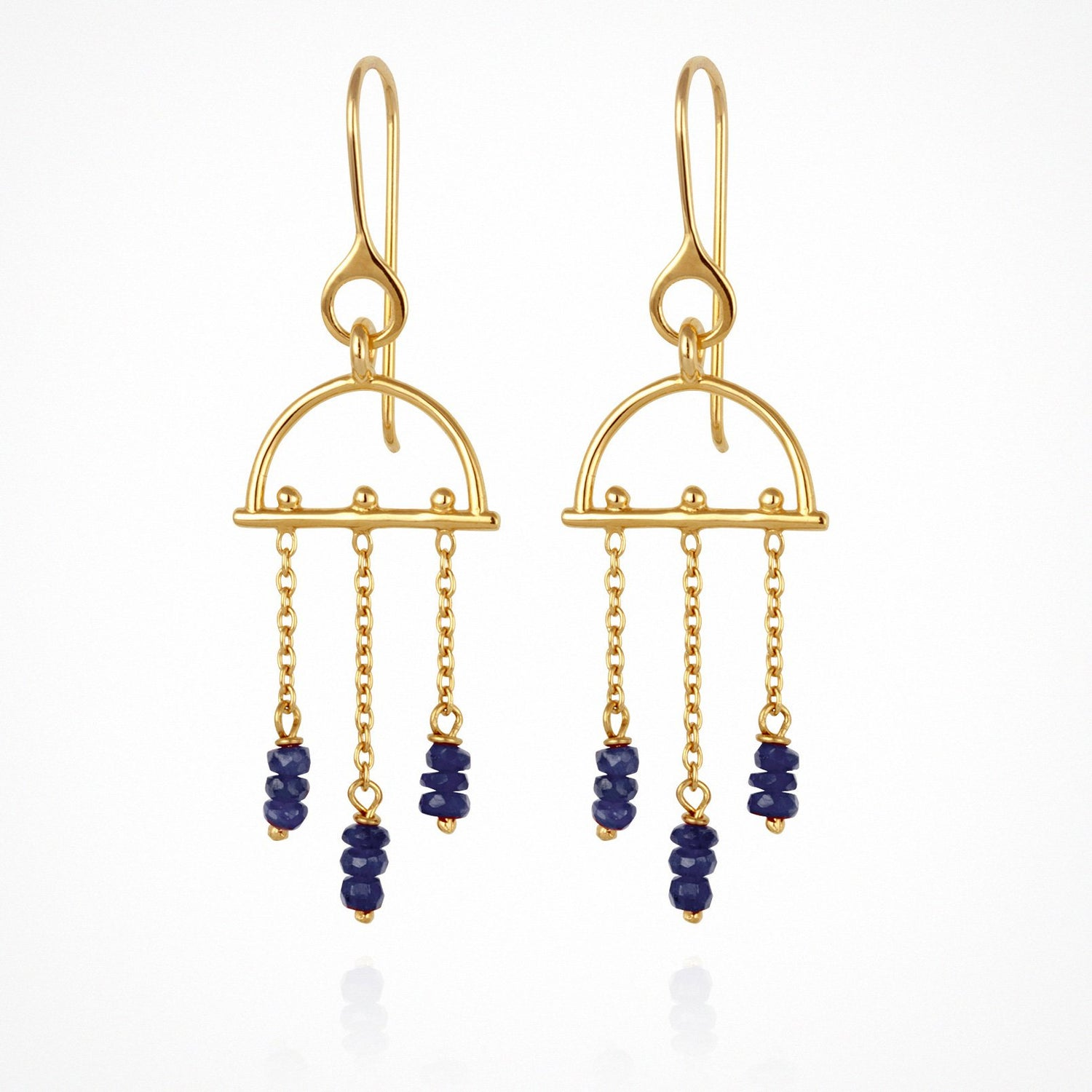 Temple of the Sun Amira Earrings Sapphire Gold - The Artisan Storeroom
