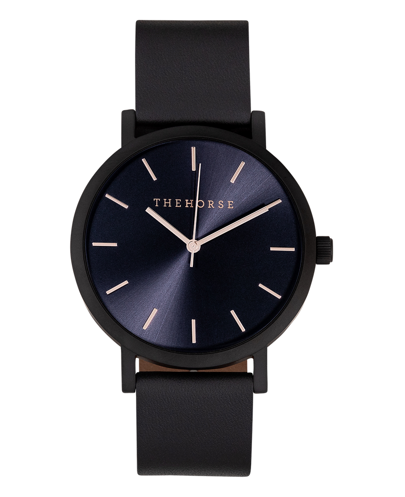 The Horse Original Watch A31- Matte Black / Rose Gold Indexing / Black Band - The Artisan Storeroom