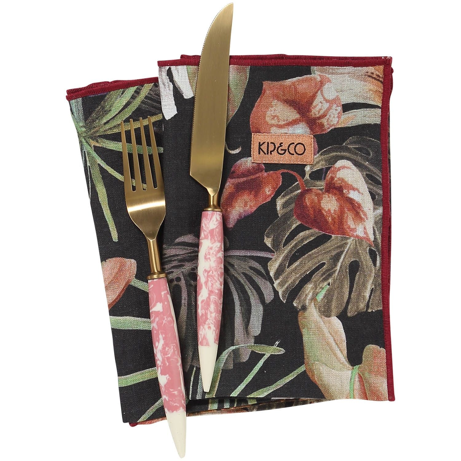 Kip & Co NIGHT JUNGLE LINEN SIX PIECE NAPKIN SET
