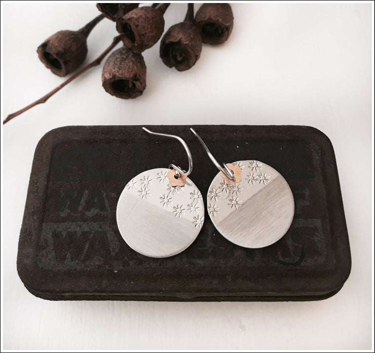 Paird Brushed and Stamped Disc Earrings