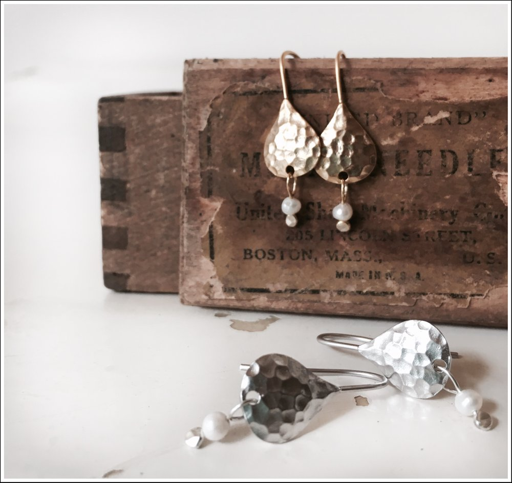 Paird Textured Tear and Pearl Earrings