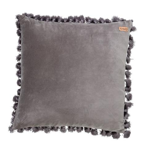 Kip & Co Velvet Tassel Cushion Cover Storm Front Grey