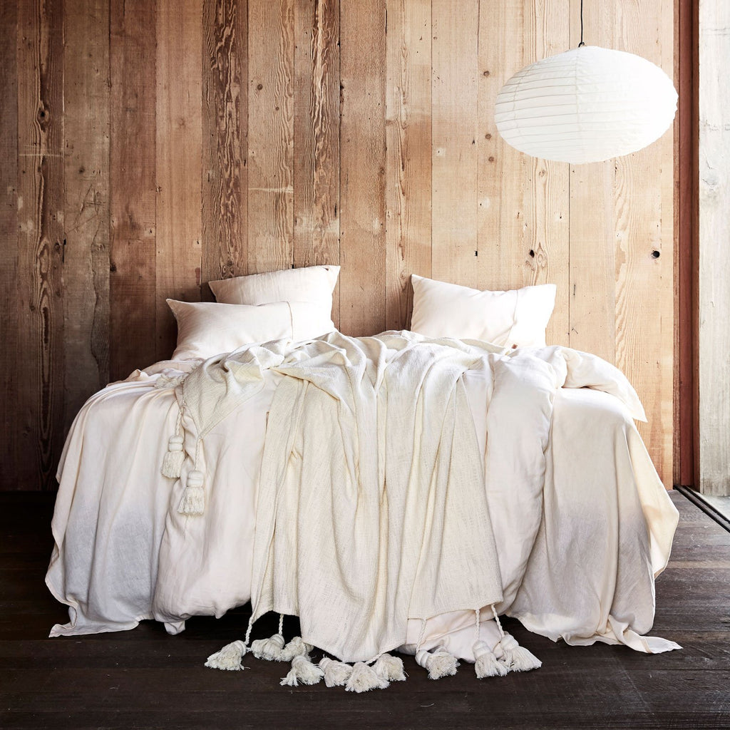 Kip & Co Coconut Linen Fitted Sheet- Queen - The Artisan Storeroom