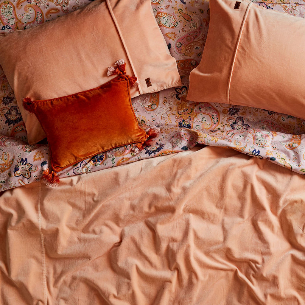 Kip & Co Peach Crumble Velvet Pillowcase 2P Set - The Artisan Storeroom