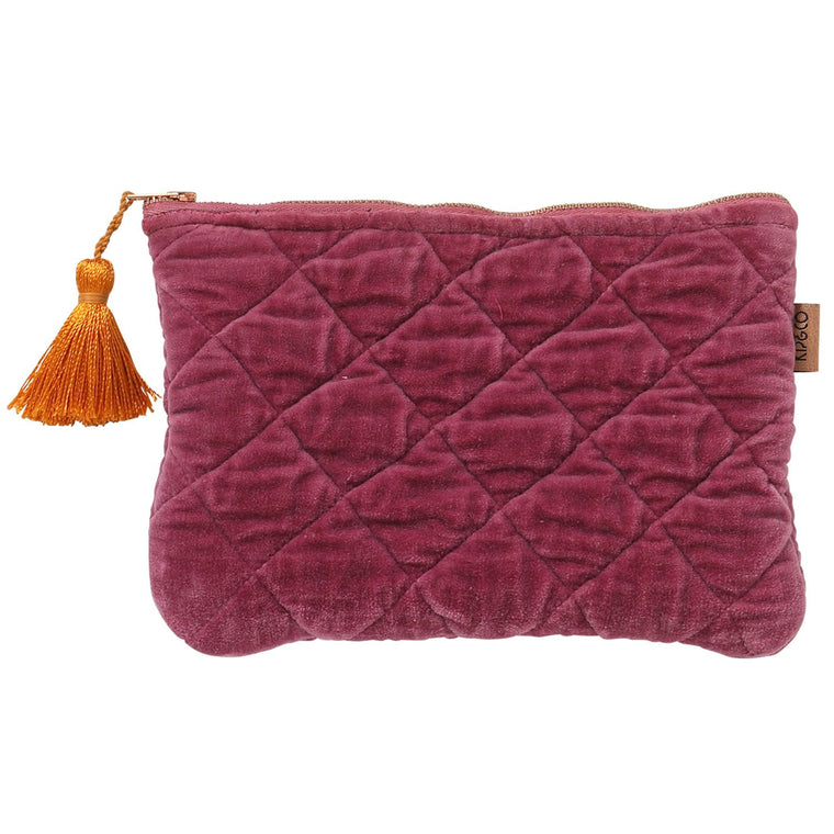 Kip & Co Peony Rose Velvet Quilted Cosmetics Purse