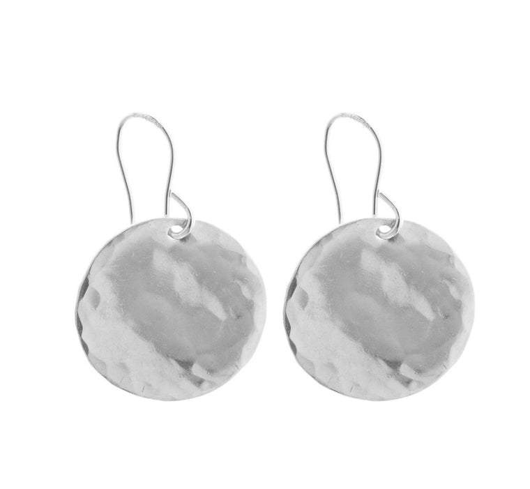 Hammered Large Disc Earrings