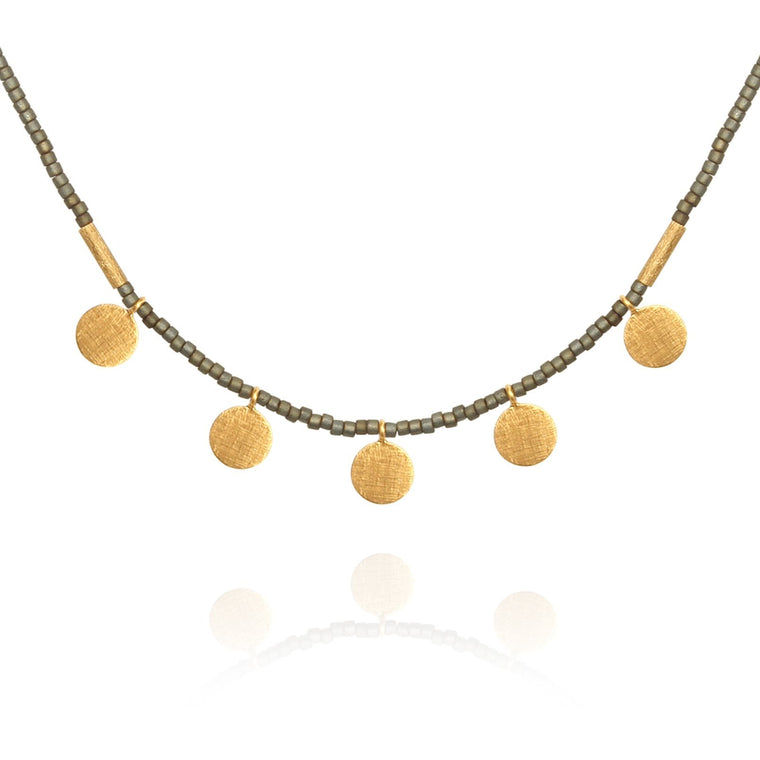 Seed Bead Necklace with Gold Disc Matt Grey