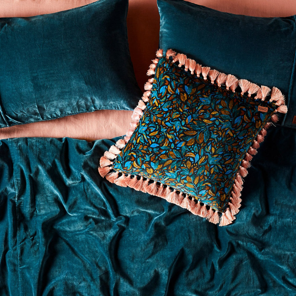 Kip & Co Teal Blue Velvet Quilt Cover- Queen - The Artisan Storeroom