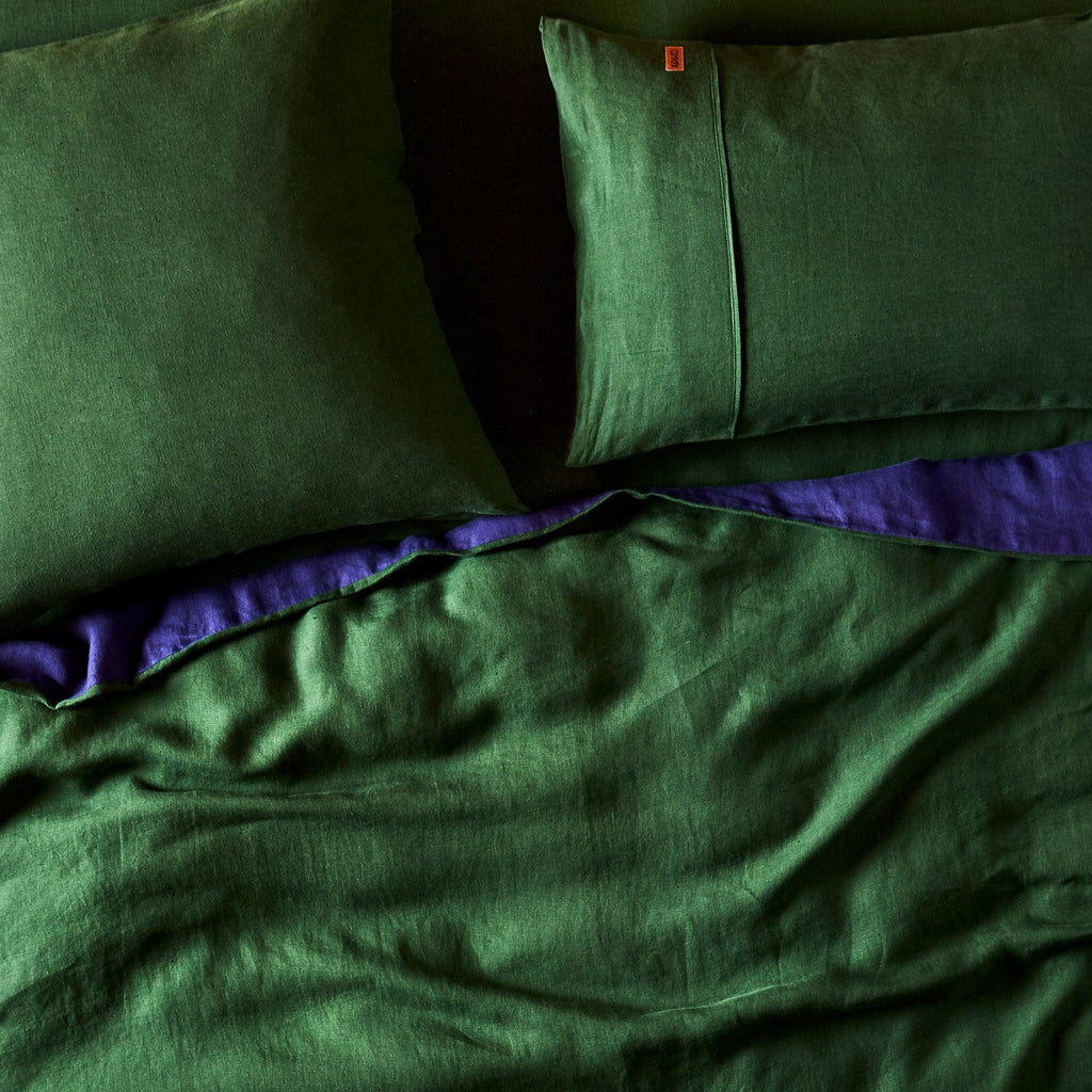 Kip & Co Moss Green RV Indigo Linen Quilt Cover- Queen - The Artisan Storeroom