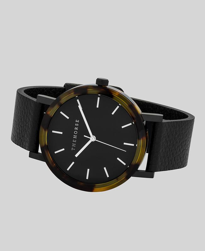 The Horse E1- Tortoise Shell / Black Dial / Black Leather