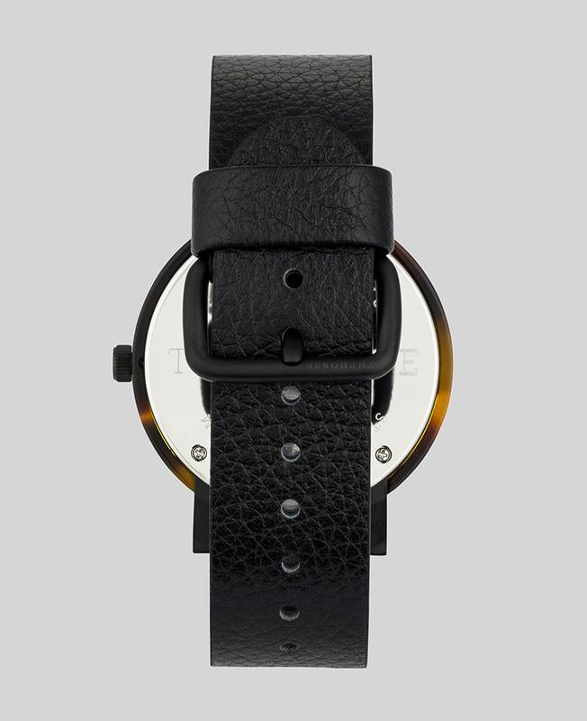 The Horse E1- Tortoise Shell / Black Dial / Black Leather - The Artisan Storeroom