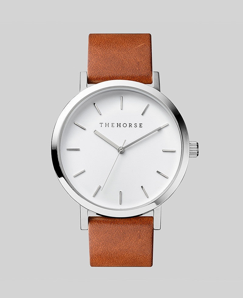 The Horse Original Watch A3- Polished Steel Case / White Face / Tan Band - The Artisan Storeroom