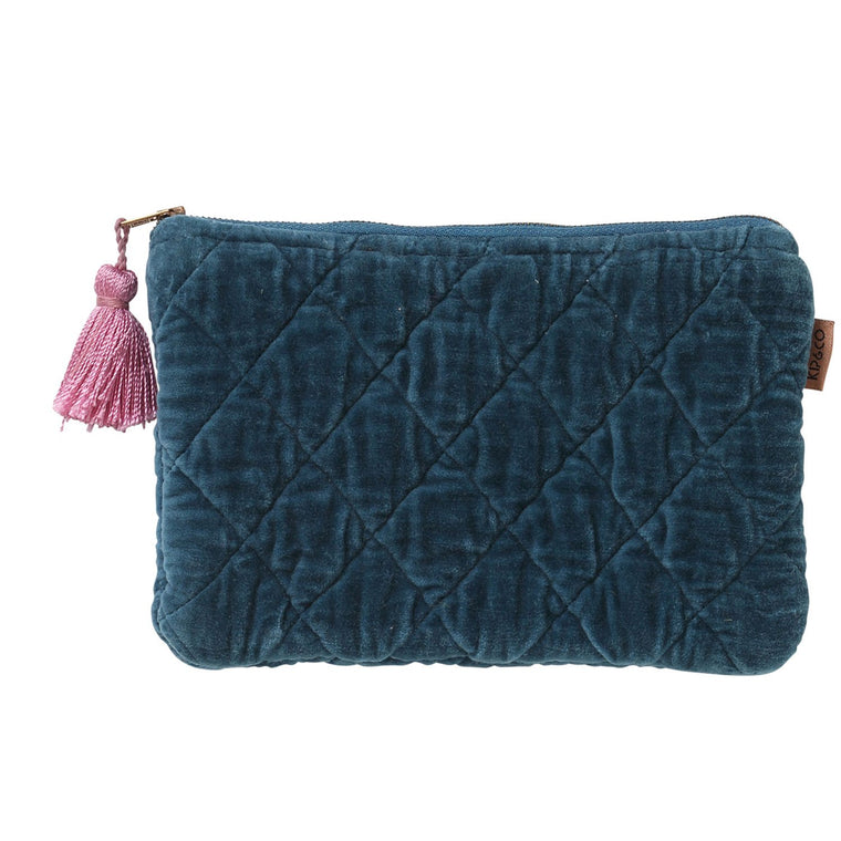 Kip & Co Teal Velvet Quilted Cosmetics