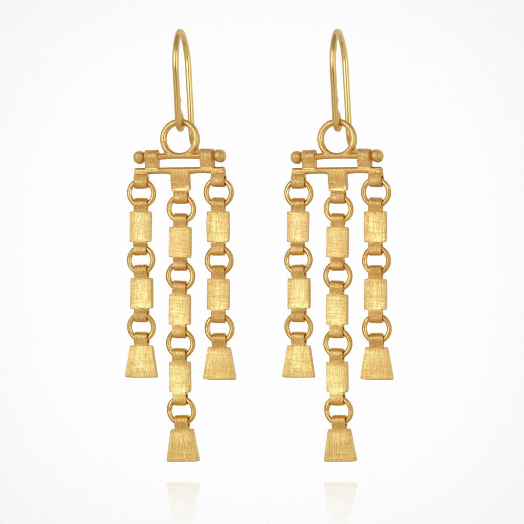 Temple of the Sun Sharni Earrings Gold - The Artisan Storeroom