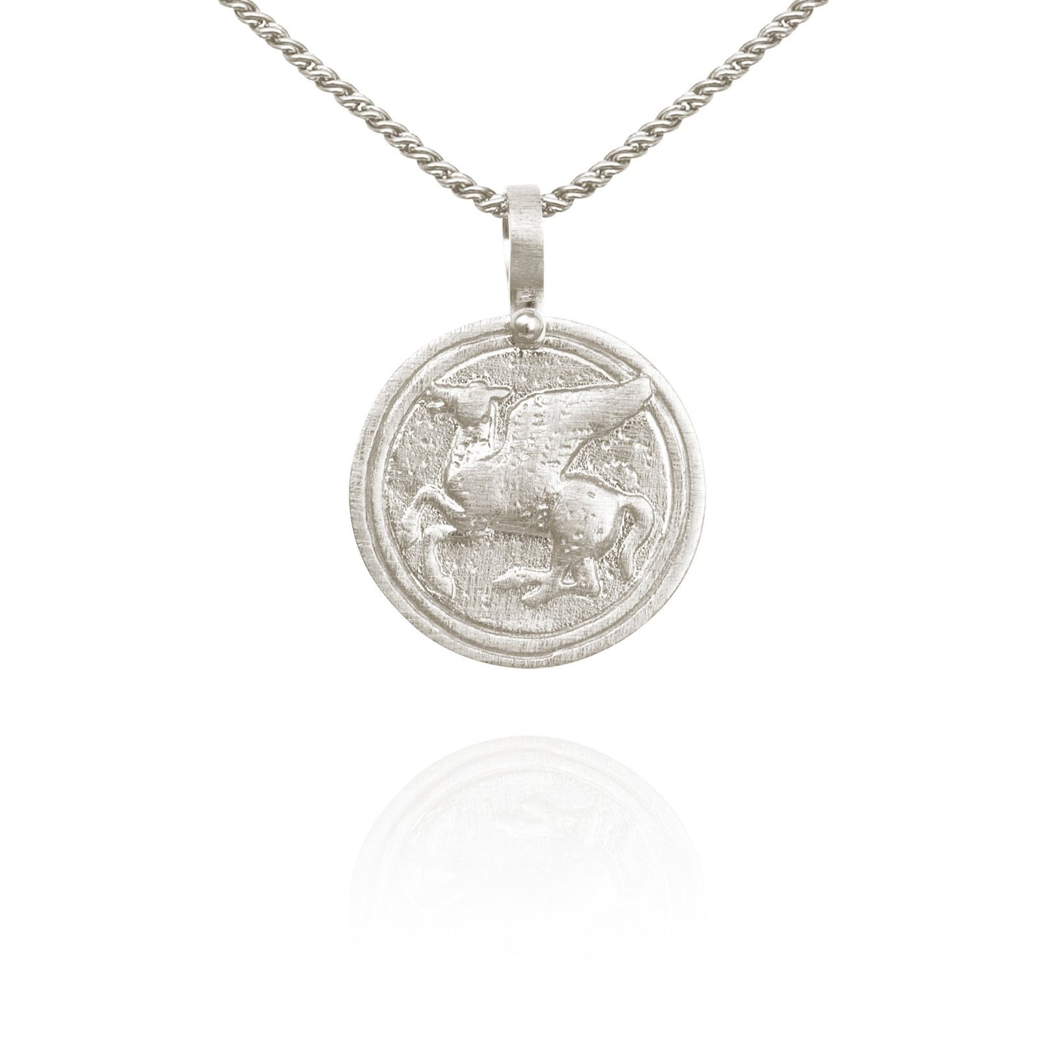 Temple of the Sun Pegasus Coin Necklace Silver - The Artisan Storeroom