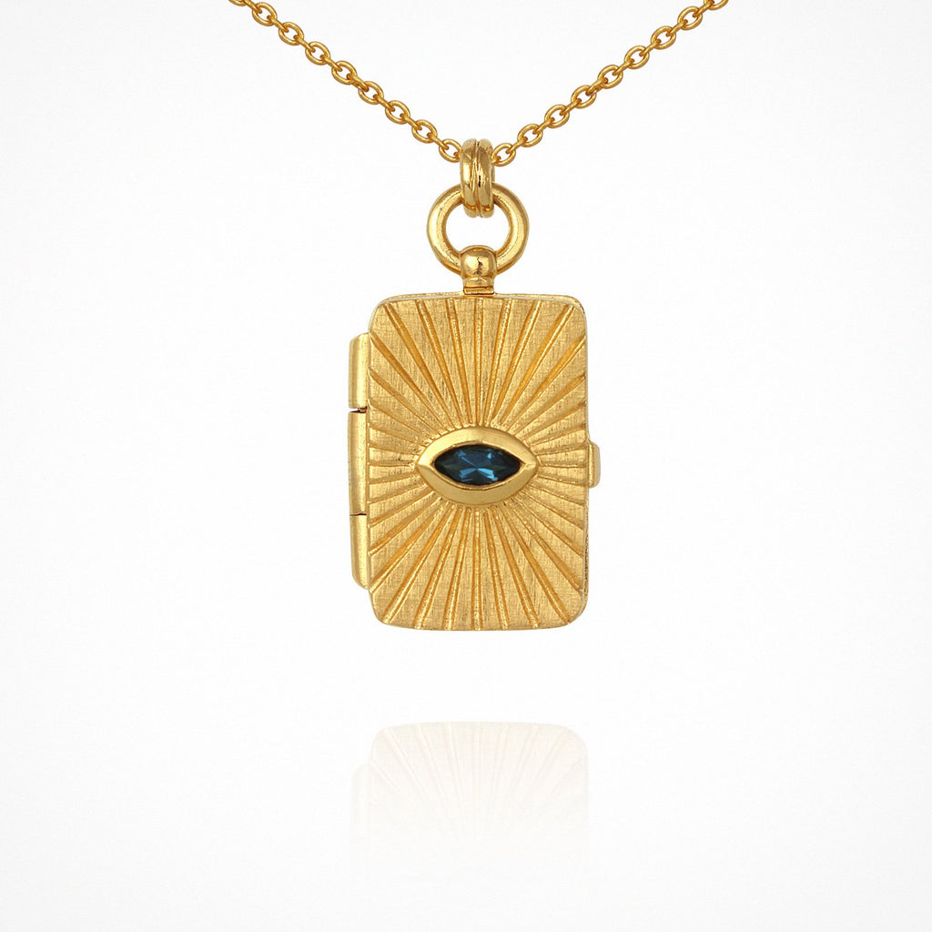 Temple of the Sun Meri Locket Necklace Gold - The Artisan Storeroom