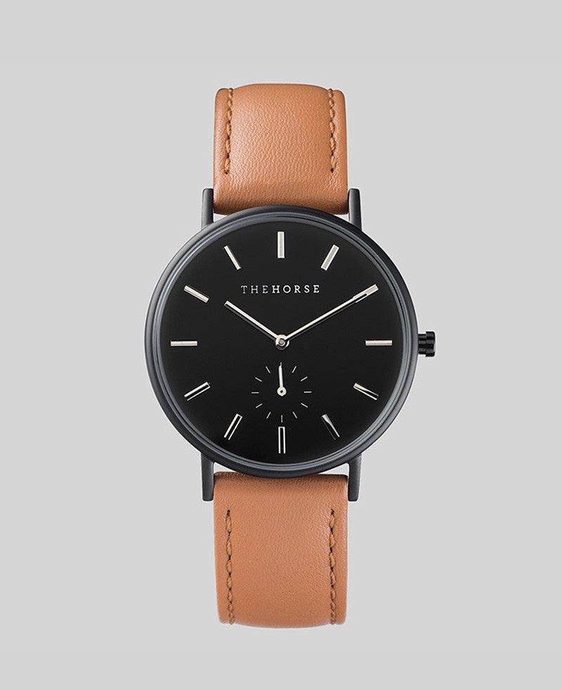 The Horse Classic Watch B2- Matte Black Case / Black Dial / Tan Band