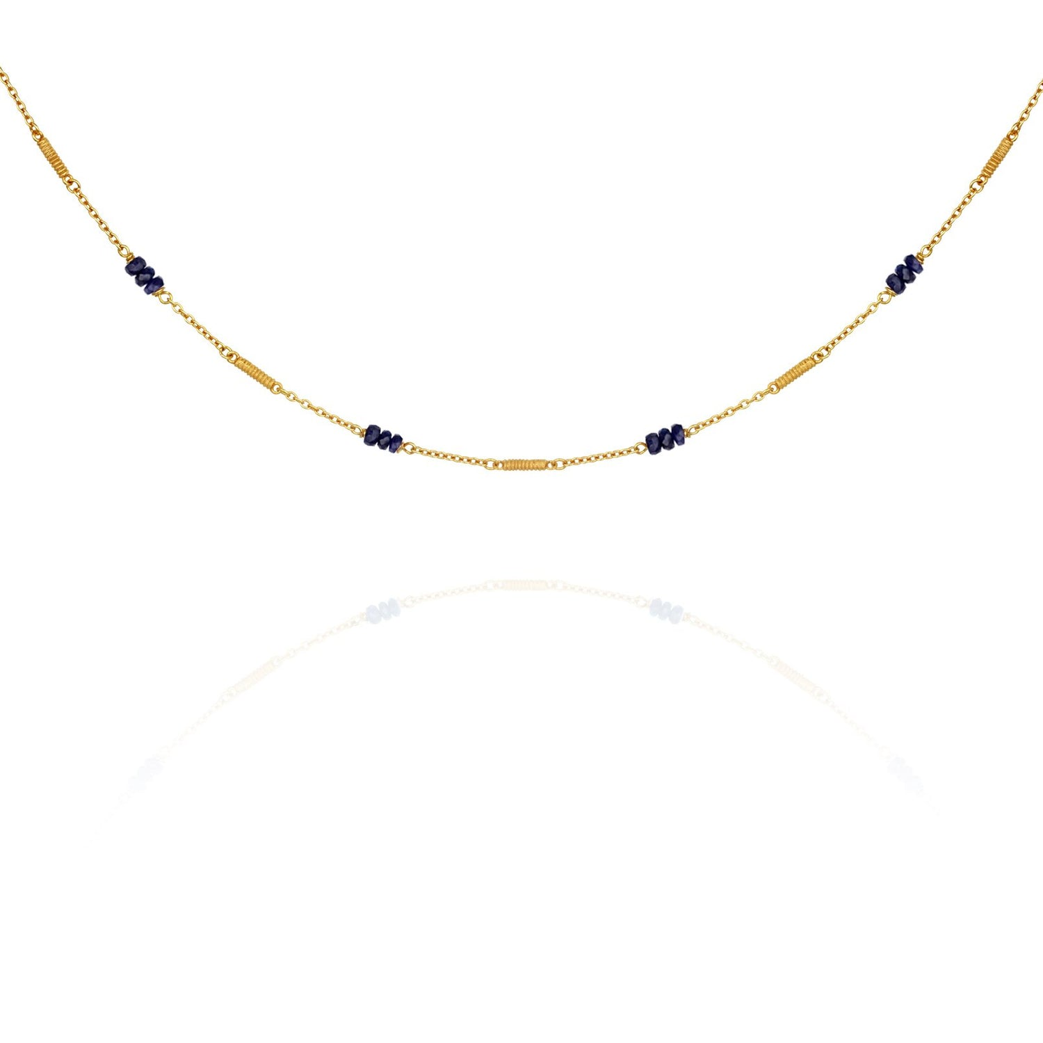 Temple of the Sun Quinn Sapphire Necklace Gold - The Artisan Storeroom