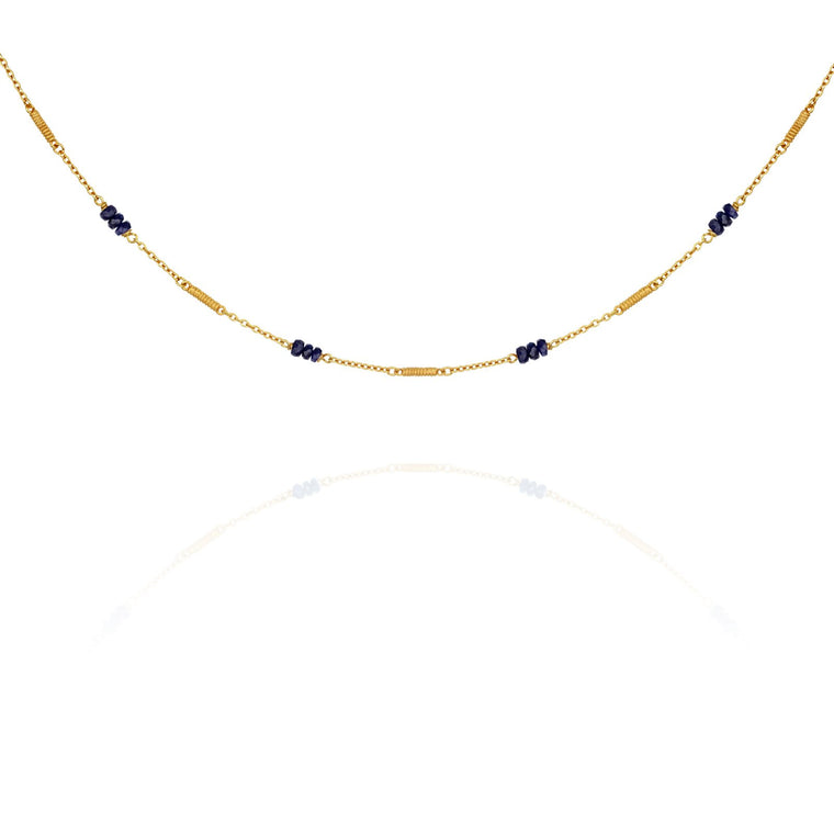 Temple of the Sun Quinn Sapphire Necklace Gold