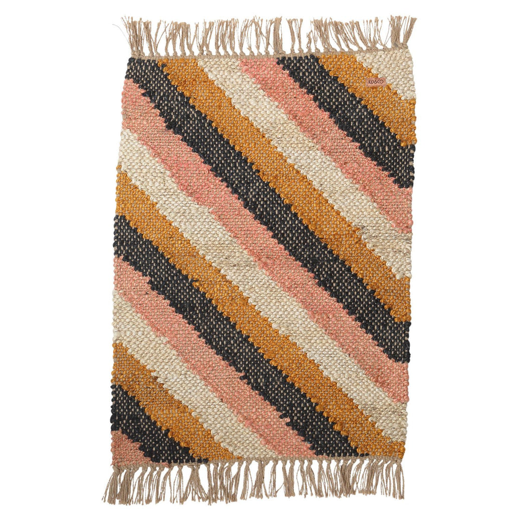 Kip & Co Diagonal Stripe Jute Floor Mat - The Artisan Storeroom
