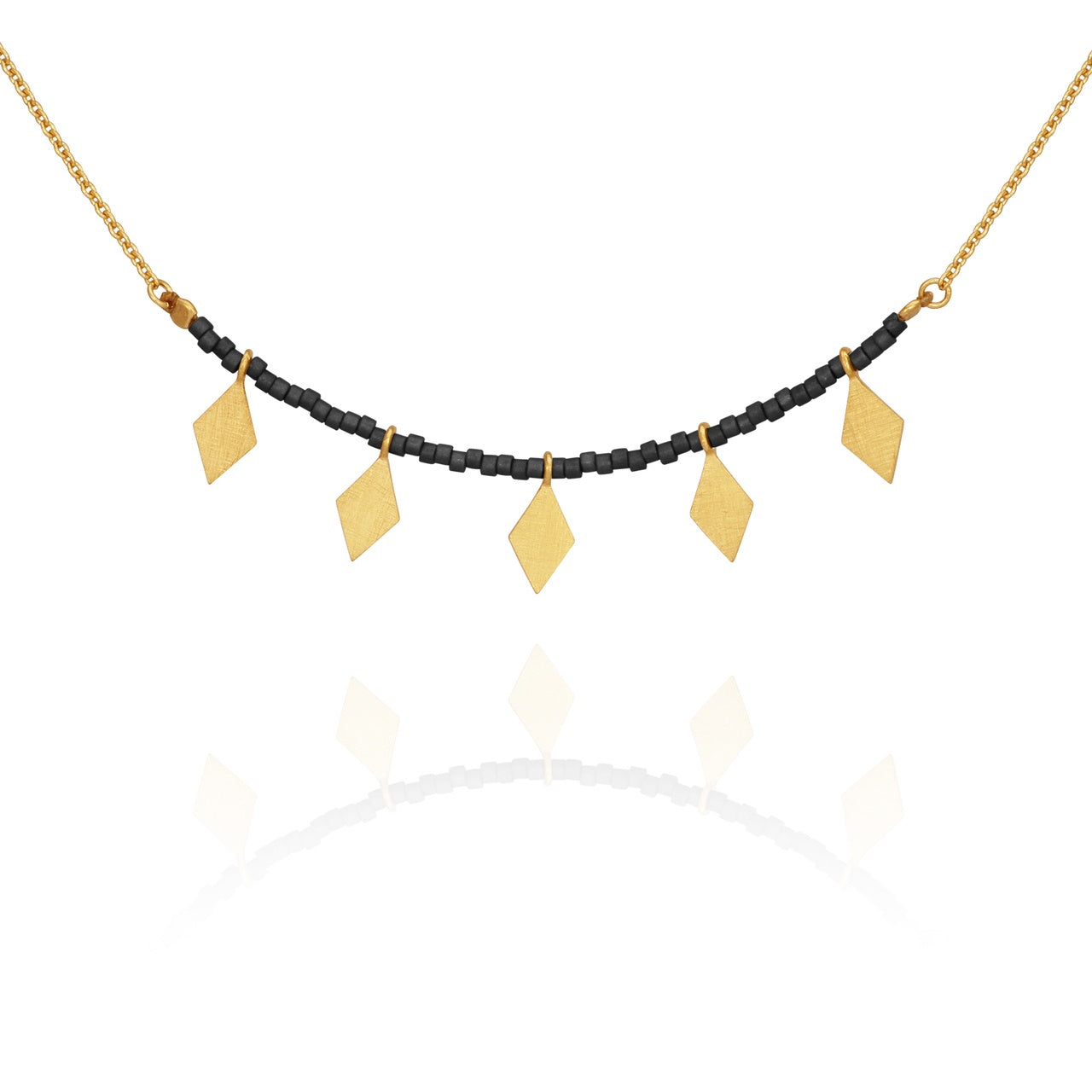Calli Seed Bead Necklace Black Gold - The Artisan Storeroom
