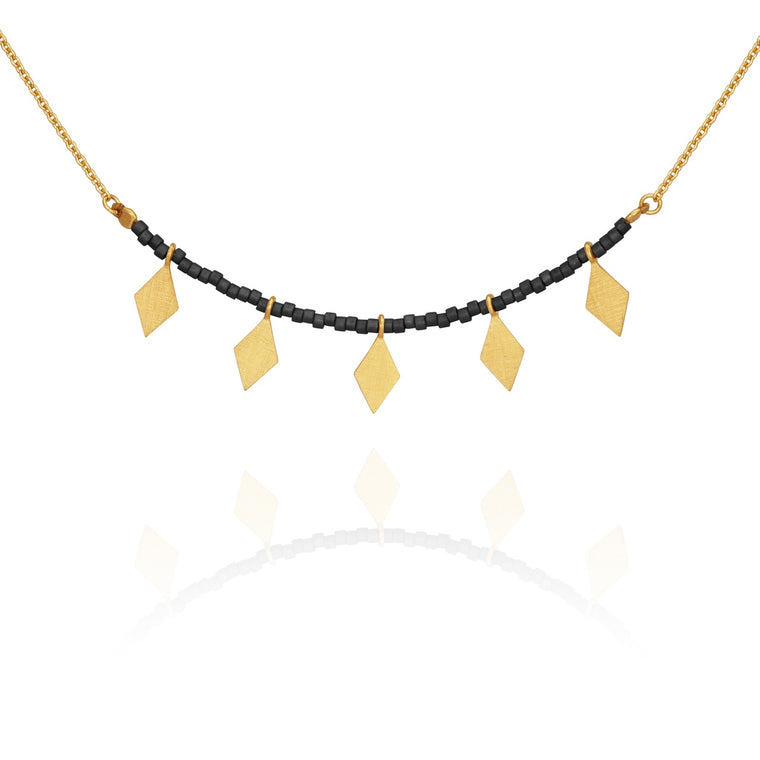 Calli Seed Bead Necklace Black Gold