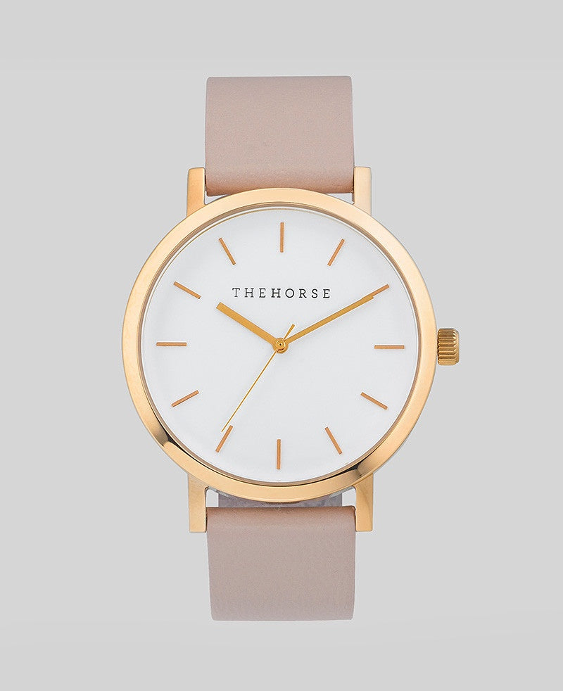 The Horse Original Watch A14- Polished Rose Gold Case / White Dial / Blush Band - The Artisan Storeroom