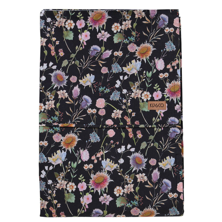 Kip & Co Bouquet Black Cotton Flat Sheet- Queen