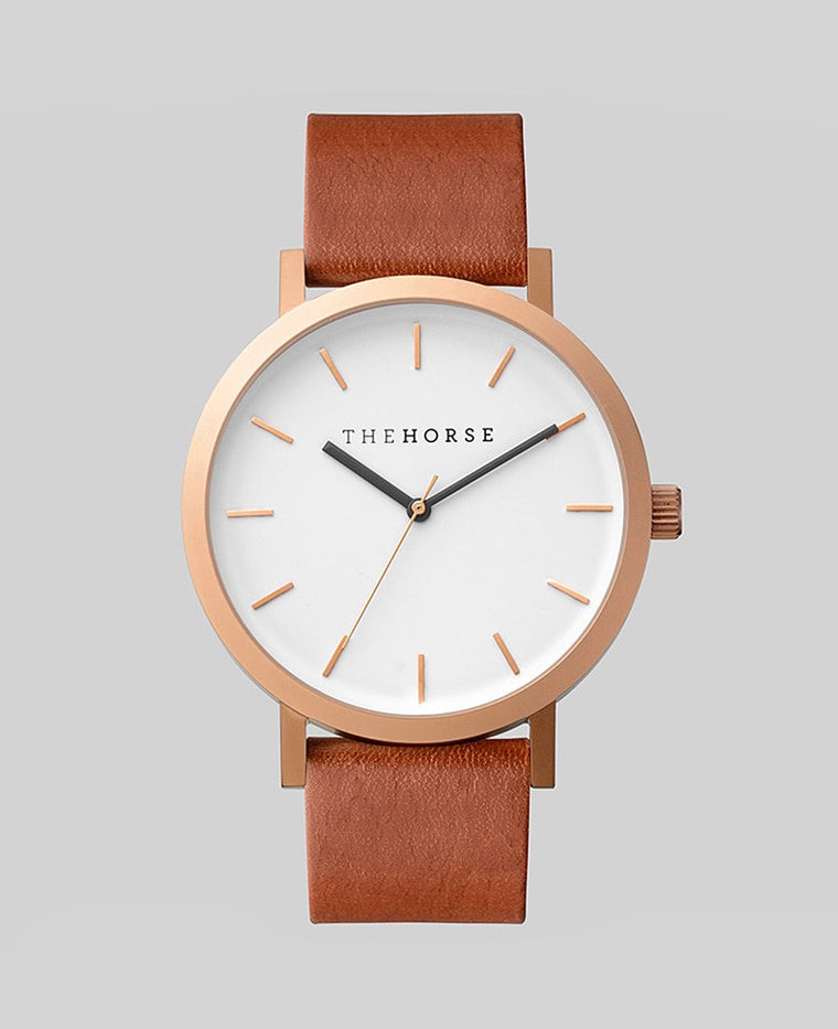 The Horse Original Watch A5- Brushed Rose Gold / White Face / Walnut Band