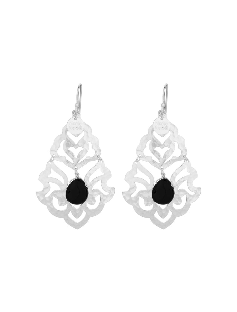 Nicole Fendel Freegrace Bead Earrings Black Onyx