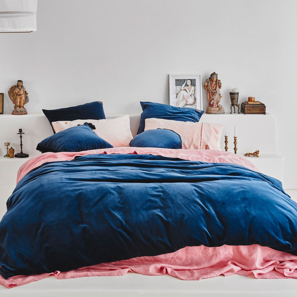 Kip & Co Petrol Blue Pillowcase 2P Set - The Artisan Storeroom