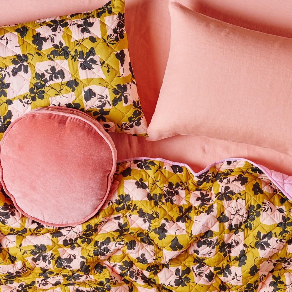 Kip & Co Velvet Pea Cushion Smokey Pink - The Artisan Storeroom