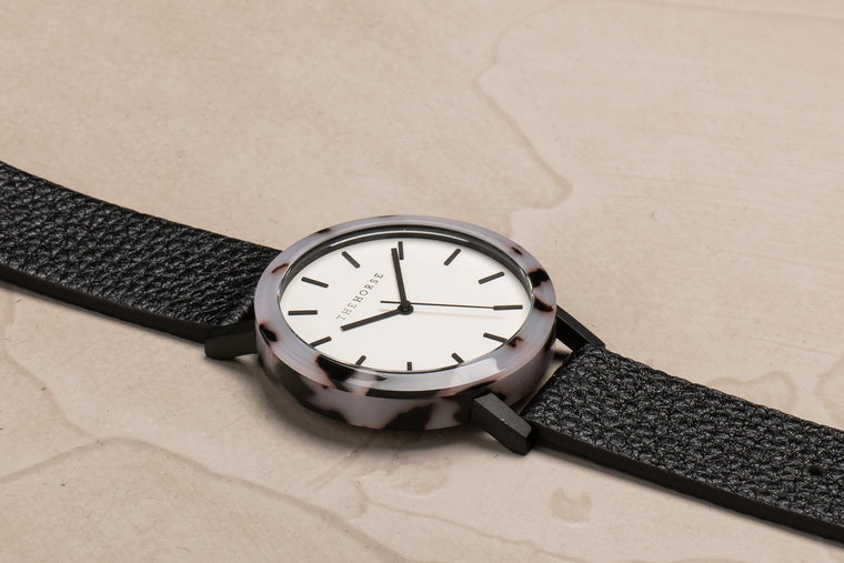 The Horse E2- Blonde Tortoise Shell / White Dial / Black Leather - The Artisan Storeroom