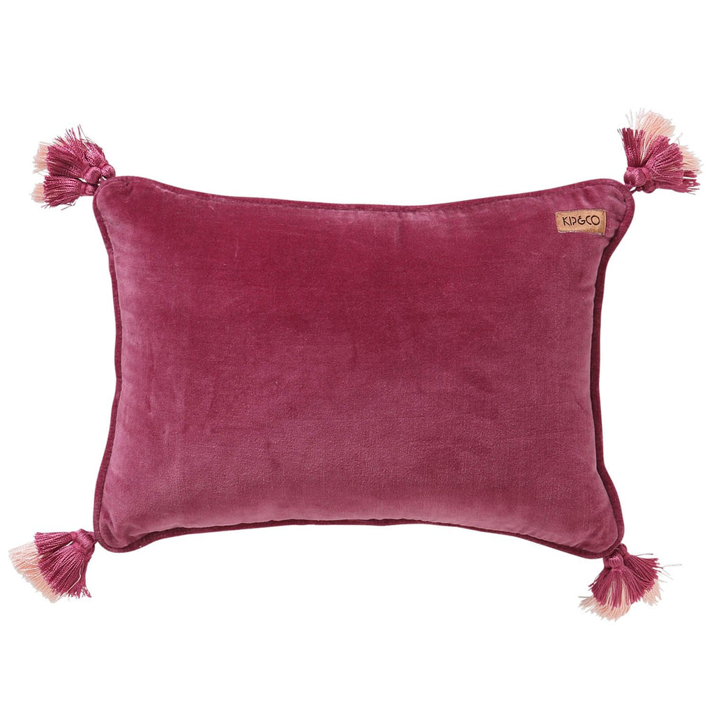 Kip & Co Peony Rose Pink Velvet Souk Cushion - The Artisan Storeroom